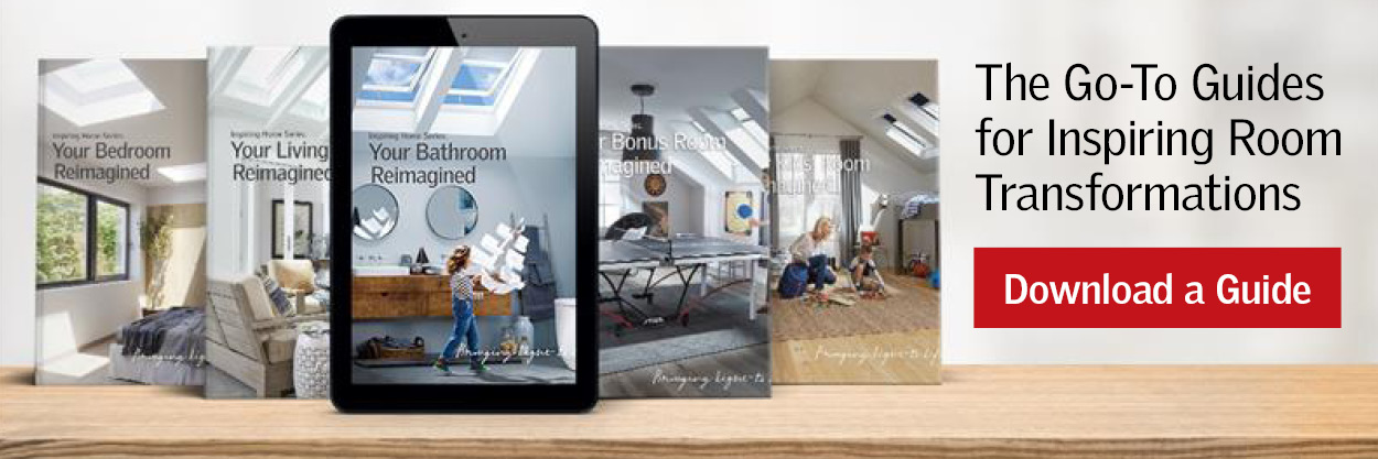 Inspiring Homes Room by Room Series Daylighting and Skylight  Options VELUX Canada for you Kitchen, Bedroom, Living Room, Attic, Bonus Room, Top of Stairs, before and after transformations