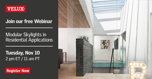 VELUX Architect Webinar Modular Skylights in Residential Applications
