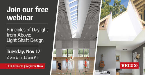 VELUX Architect Webinar Principles of Daylight from Above – Light Shaft Design